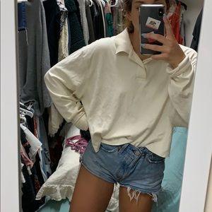 Tops - Cropped long sleeve collard shirt